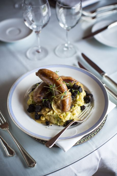 Apple Bangers with Parsnip & Leek Mash, Cider Gravy & Black Pudding Crumble | DonalSkehan.com, Celebrating Irish artisan ingredients.
