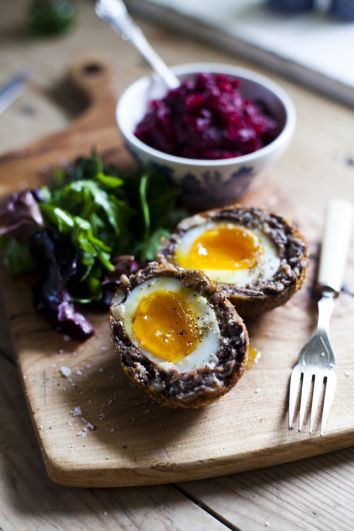 Black Pudding Scotch Eggs with Beetroot Relish | DonalSkehan.com, A new take on the Irish breakfast!