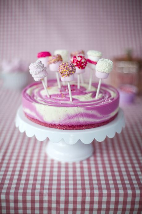 Slightly Bonkers Pink Zebra Cheesecake with Marshmallow Pops | DonalSkehan.com, Perfect for a little girls birthday party or for anyone who loves PINK!