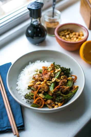 Orange & Five Spice Sticky Chicken Stir Fry | DonalSkehan.com, A quick cook stir-fry packed with chicken and veggies with a sweet and sticky orange sauce.
