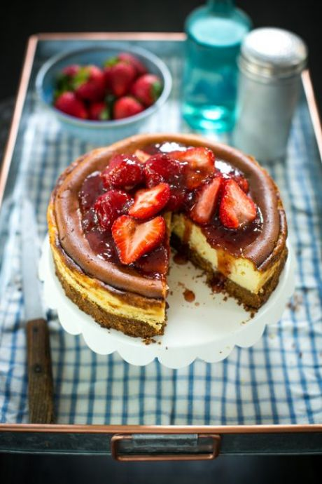 New York Style Baked Strawberry Cheesecake | DonalSkehan.com, Great cheesecake recipe you can adopt however you like.