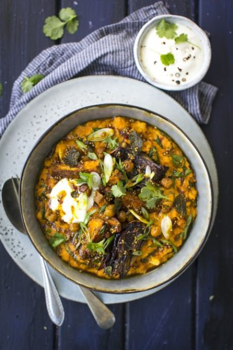 Indian Dal with Roast Sweet Potatoes, Red Onion & Chickpeas | DonalSkehan.com, A comforting, spiced lentil dish that the whole family will love.