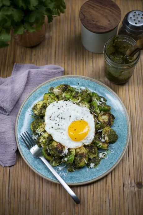 Fried Eggs with Brussel Sprouts & Pesto | DonalSkehan.com, A surprisingly delicious combo!