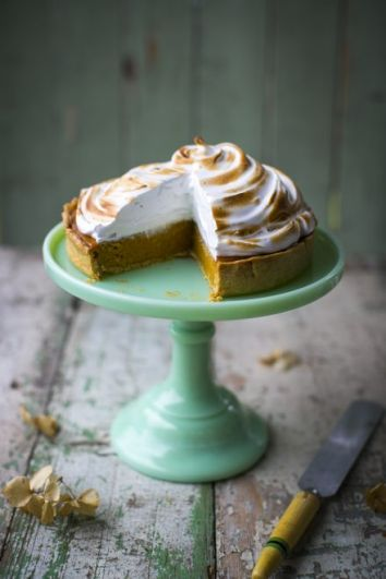 Spiced Pumpkin Pie with Maple Torched Meringue | DonalSkehan.com, A classic pumpkin pie with a fun twist!