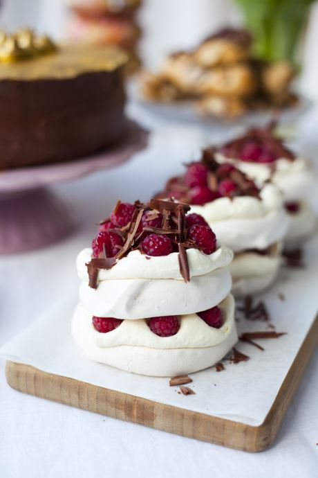 Raspberry and Dark Chocolate Mini Pavlova Stacks | DonalSkehan.com, Surprisingly simple to make but a real showstopper!