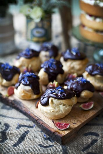 Earl Grey Profiteroles with Dark Chocolate & Tonka Glaze and Honeyed Figs | DonalSkehan.com, A classic pastry with a modern twist.