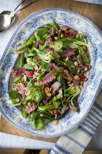 Griddled Beef & Mint Salad with Toasted Rice & Peanuts | DonalSkehan.com, Brilliant summer sharing dish!