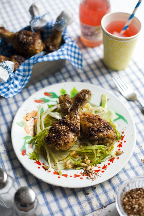 Za'atar Chicken Drumsticks with Shaved Fennel Salad | DonalSkehan.com, These chicken drumsticks are as good cold as they are fresh from the oven! Perfect picnic food!