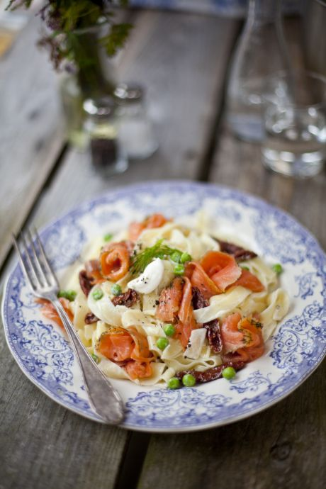 Creamy Salmon Tagliatelle with Garden Peas and Sundried Tomatoes | DonalSkehan.com, Delicious, quick and healthy pasta!