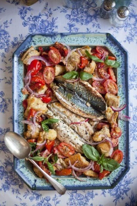 Mediterranean Mackerel with a Tomato Panzanella Salad   DonalSkehan.com, Delicious summer salad!