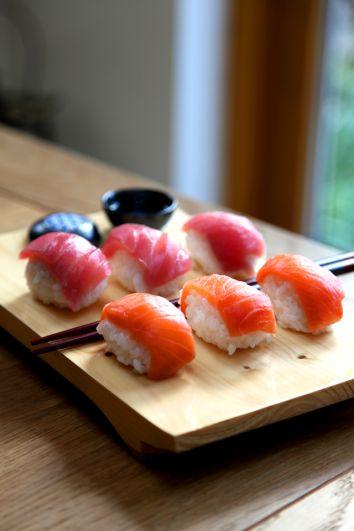Salmon and Tuna Nigiri   DonalSkehan.com, Sushi time!