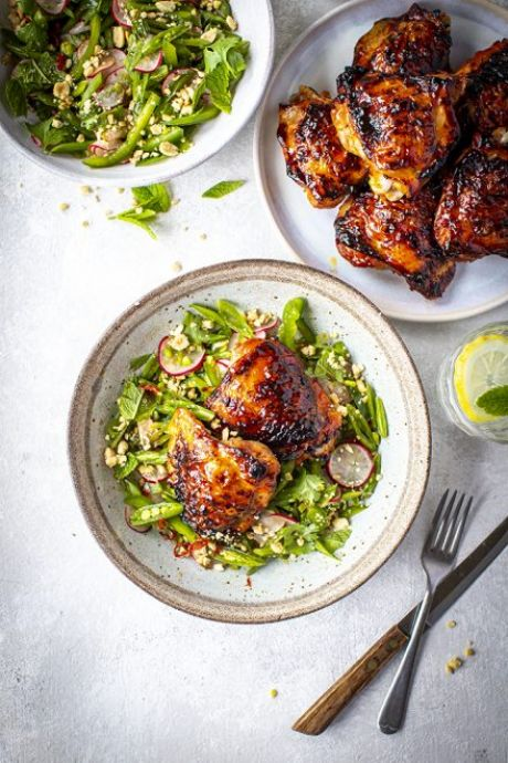 Sweet Chilli Chicken with Nam Pla Sugar Snap Pea Salad | DonalSkehan.com