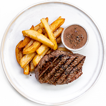 Dinner - Pan Fry Steak with Chips and Pepper Sauce