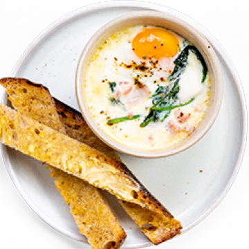 Breakfast - Baked Eggs with Spinach and Ham - Low Cal