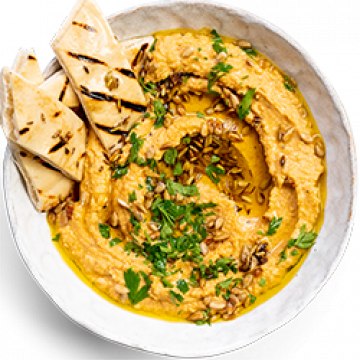 Snack - Harissa Hummus with Toasted Pitta Bread