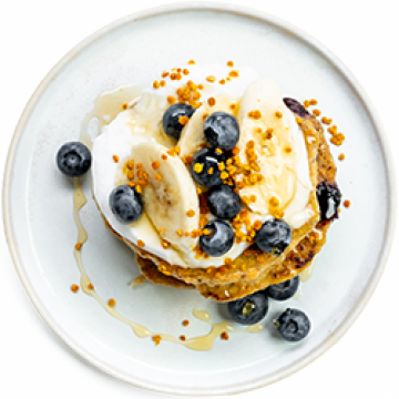 Breakfast - Gluten-free Pancakes with Blueberry, Banana and Honey