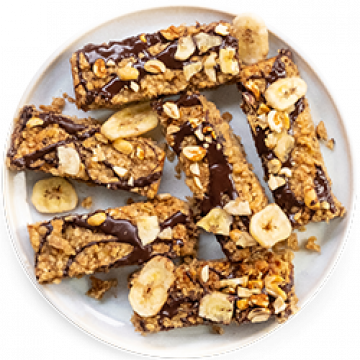 Snack - Peanut, Banana & Chocolate Oat Bars - Low Cal
