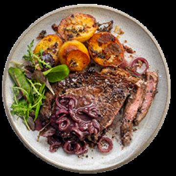Dinner - Steak with Red Wine Shallots & Fondant Potatoes - Feb