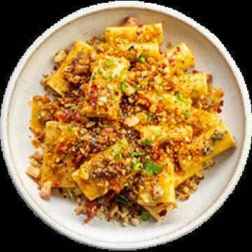 Dinner - Rigatoni with Pancetta and Crispy Garlic Breadcrumbs - Feb