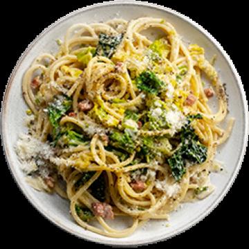 Dinner - Creamy Leek & Savoy Cabbage & Pancetta Pasta - March