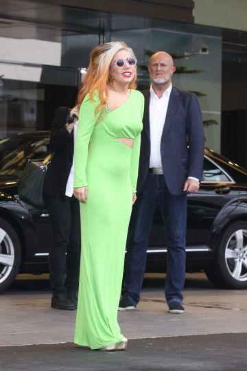 Lady Gaga in lime green