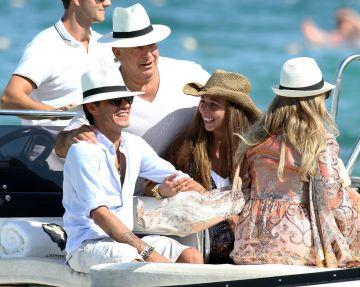 Uma Thurman, Chloe Green and Marc Anthony: St Tropez