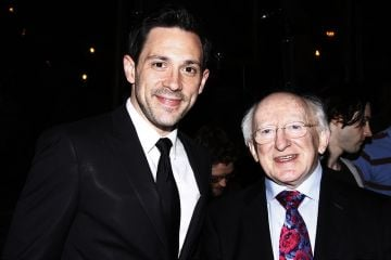 The President of Ireland, Michael D. Higgins visits the cast of 'Once'