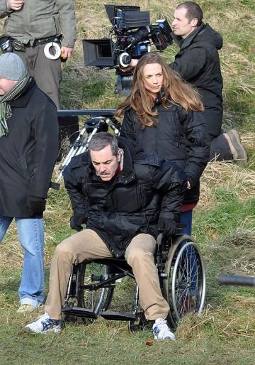 Actors on the film set of 'Gold' in Dublin