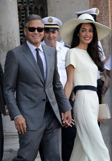 George Clooney and Amal Alamuddin after their marriage civil ceremony in Venice