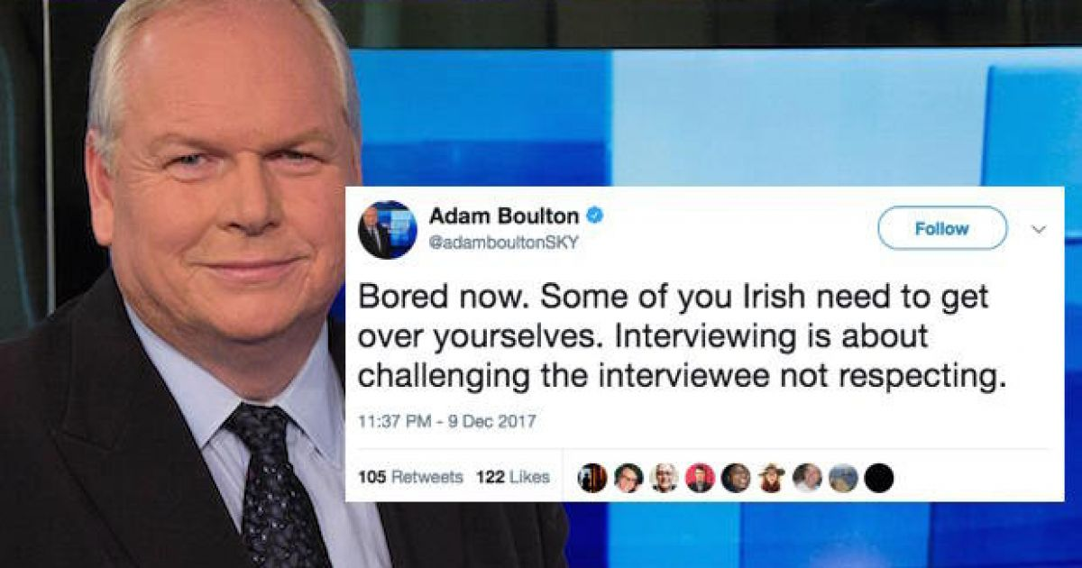 Adam Boulton defends controversial 'you Irish' tweet ...