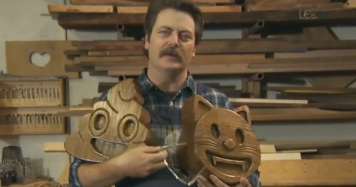 Watch Parks And Recreations Ron Swanson Is Making Wooden Emojis