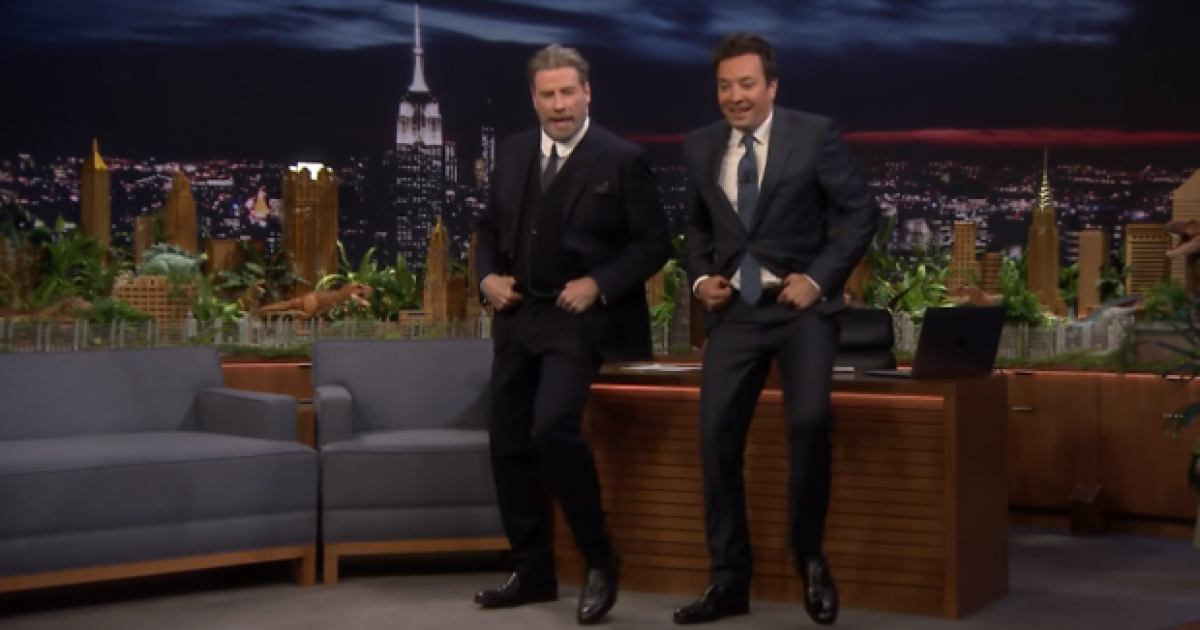 John Travolta shows off his 'Grease' dance moves