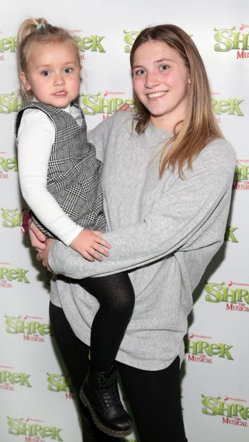 Mila Bailey and Eire Green at the opening night of Shrek the Musical at The Bord Gais Energy Theatre, Dublin. Photo by Brian McEvoy