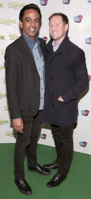 Clint Drieberg and David Mitchell at the opening night of Shrek the Musical at The Bord Gais Energy Theatre, Dublin. Photo by Brian McEvoy