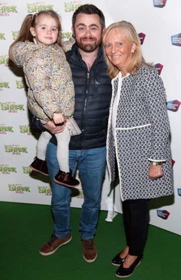 Alan Swan with Serena Swan and Mari McGuane at the opening night of Shrek the Musical at The Bord Gais Energy Theatre, Dublin. Photo by Brian McEvoy