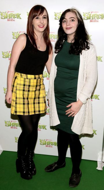 Michelle McGlynn and Stacy Groude at the opening night of Shrek the Musical at The Bord Gais Energy Theatre, Dublin. Photo by Brian McEvoy