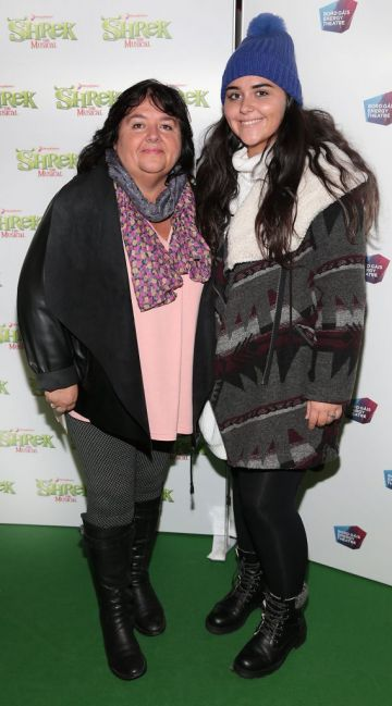 Ann Hayes and Holly Hayes at the opening night of Shrek the Musical at The Bord Gais Energy Theatre, Dublin. Photo by Brian McEvoy