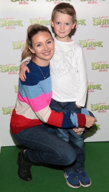 Anna Daly and son James Ward at the opening night of Shrek the Musical at The Bord Gais Energy Theatre, Dublin. Photo by Brian McEvoy