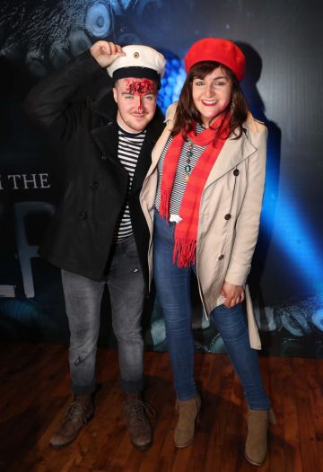 Anthony and Aine McNulty pictured at Kraken Black Spiced Rum's immersive movie experience in Dublin with a surprise horror movie. Pic Robbie Reynolds