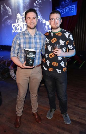 Conor Mulligan and Aaron Carroll pictured at Kraken Black Spiced Rum's immersive movie experience in Dublin with a surprise horror movie. Pic Robbie Reynolds