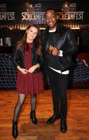 Christina Carolan and Lawson Mpame pictured at Kraken Black Spiced Rum's immersive movie experience in Dublin with a surprise horror movie. Pic Robbie Reynolds