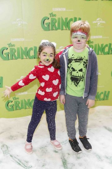 Mairead (5) and Conor Naughton (9) pictured at the Irish premiere screening of The Grinch at ODEON Point Village, Dublin. Picture Andres Poveda