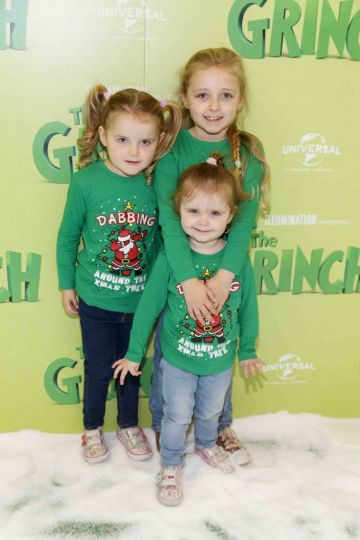 Erin (5) Eaobhinn (3) and  Saoiose McNight (7) pictured at the Irish premiere screening of The Grinch at ODEON Point Village, Dublin. Picture Andres Poveda