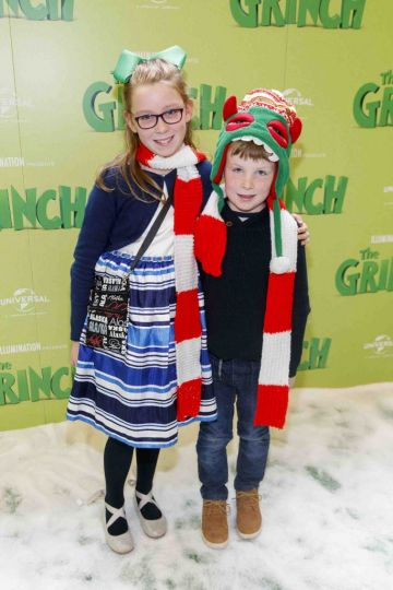 Vivienne Moran (9) and Nathan Moore (6) pictured at the Irish premiere screening of The Grinch at ODEON Point Village, Dublin. Picture Andres Poveda
