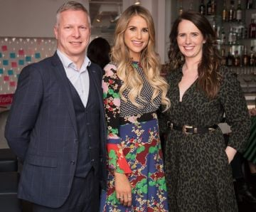 Eoin Donnelly , Vogue Williams & Hillary Hughes pictured at the launch of Lily O'Brien's 'Share Wisely' bags. Photo: Anthony Woods