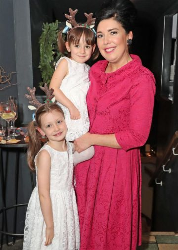 Sharon Hearne-Smith and her daughters Pearl and Poppy pictured at the launch of the SuperValu All Things Considered Christmas Café in aid of ALONE.   Pic: Marc O'Sullivan