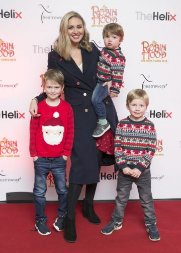 Pictured are Anna Daly with her sons James 7,Evan 5yrs and Rhys 2yrsat the opening night of The Helix Pantomime, Robin Hood on Saturday night.   Photo: Leon Farrell/Photocall Ireland.