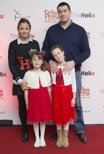 Pictured  Brendan, Olivia, Daniel and Emilia scarland at the opening night of The Helix Pantomime, Robin Hood on Saturday night.  Photo: Leon Farrell/Photocall Ireland.