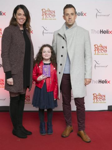 Pictured  Luke O'Faolain with his dughter Edie and partner Sandra at the opening night of The Helix Pantomime, Robin Hood on Saturday night.  Photo: Leon Farrell/Photocall Ireland.