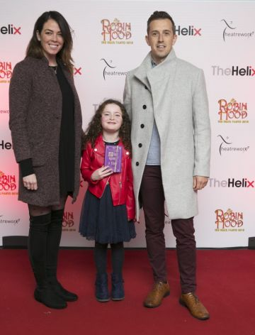 NO REPRO FEE. Pictured  Luke O'Faolain with his dughter Edie and partner Sandra at the opening night of The Helix Pantomime, Robin Hood on Saturday night. A superb cast which includes, Ireland's premier tenor, Paul Byrom will take to the stage for this magical production which begins an eight week run until Sunday 20th January 2019.Tickets, priced from €19.50 (booking fees apply) and are on sale now from www.thehelix.ie and at The Helix Box Office.Photo: Leon Farrell/Photocall Ireland.